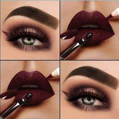 Mind-boggling Wine Red Lips And Eye Makeup Wahnsinnige Wine Red Lips und Augen Make-up The post Wahnsinnige Wine Red Lips und Augen Make-up appeared first on Frisuren Tips. Clown Makeup, Eyeshadow Makeup, Makeup Cosmetics, Eyeliner, Devil Makeup, Witch Makeup, Makeup Eyebrows, Scary Makeup, Skull Makeup