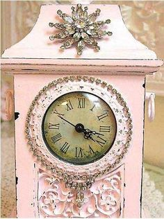 Pink Bedazzled Vintage Style Clock