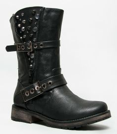 ROCKER-17 Studded Spike Buckle Zipper Detailed Motorcycle Biker Riding Boot,8 B(M) US,Black*