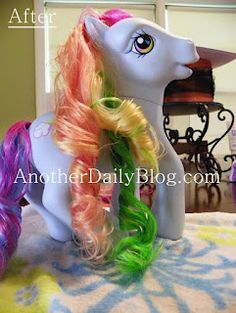 How to make My Little Pony(or doll) hair like new again! Downy, water and a comb...I can do that!