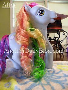 Making My Little Pony hair like new again, How to detangle my little pony hair, how to curl my little pony hair, fixing my little pony hair, how to detangle doll hair