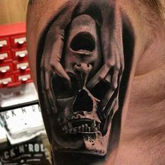 Hands Over Skull Mens Arm Tattoo Designs Ambigramm Tattoo, Tattoo Crane, Home Tattoo, Tattoo Motive, 3d Tattoos, Badass Tattoos, Skull Tattoos, Body Art Tattoos, Tattoos For Guys