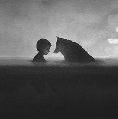 Cultura Inquieta - Acuarelas en blanco y negro representando a niños y animales salvajes