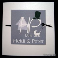 """Einladungskarte Hochzeit und Taufe """"Brautpaar"""" grau"""