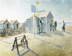 """""""Bathing Machines, Aldeburgh"""" (Suffolk) by Eric Ravilious, 1938 I have just seen this at the Dulwich Picture Gallery. They have a new exhibition on Eric Ravilious. British Seaside, Seaside Art, Coastal Art, Suffolk Coast, Antiques Roadshow, Gravure, Lovers Art, Original Artwork, Illustration Art"""