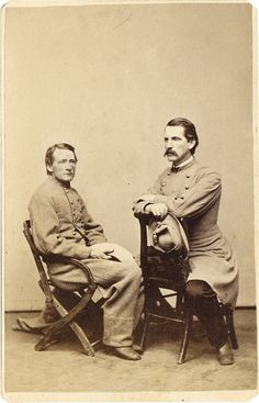 Rare Carte de Visite of John S. Mosby and Lt. Richard Newland McVeigh, Maryland Line. Both men hold the plumed hats of a Virginia cavalier.
