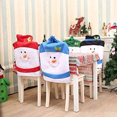 Cute Snowman Chair Cover Christmas Dinner Party supplies Chair Back Covers Xmas Decor Christmas Decorations for home Christmas Party Table, Christmas Place Cards, Dinner Party Table, Xmas Dinner, Christmas Hats, Xmas Party, Winter Party Decorations, Snowman Decorations, New Years Decorations