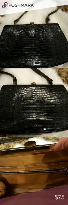 GENUINE BLACK ALLIGATER  VINTAGE HANDBAG 10 x 6. 6 inch zipper pocket inside and also has a 6 inch pocket behind. Only signs of a little wear on the leather strap. 13 inch strap. Love this cute little bag!! Vintage Bags