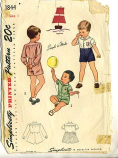 Vintage 1940s Simplicity 1844 Toddler Boys Playsuit by RomasMaison