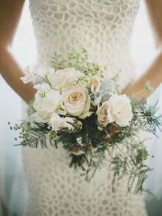 Whispy Bridal Bouquet - Blush Pink - See the wedding on #SMP here: http://www.StyleMePretty.com/2014/05/19/elegant-outdoor-charleston-wedding-at-the-legare-waring-house/ Photography: BrandonLata.com