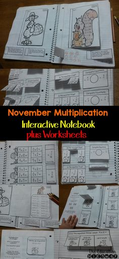 November multiplication for Interactive Notebooks. Single digits. Solve and multiply, word problems, working with arrays, equal groups and repeated addition. The Education Highway