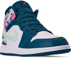 Nike Girls' Little Kids' Air Jordan 1 Mid Casual Shoes Golf Shoes, Kid Shoes, Jordan 1 Mid, Air Jordan, Jordan Shoes For Kids, Lines For Girls, Black Racer, Sneaker Stores, Nikes Girl