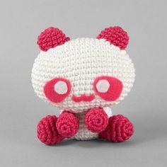 White & Pink Amigurumi Panda by ShoriAmeshiko on Etsy, $20.00