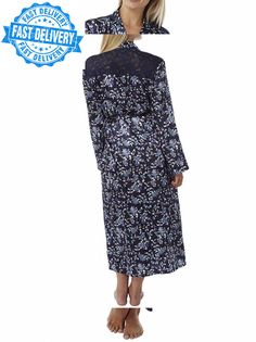 Indigo Sky Ladies Charmeuse Satin Wrap Lace Panel Floral Print Dressing Gown...   fashion  clothing  shoes  accessories  womensclothing  intimatessleep  (ebay ... 309633f31