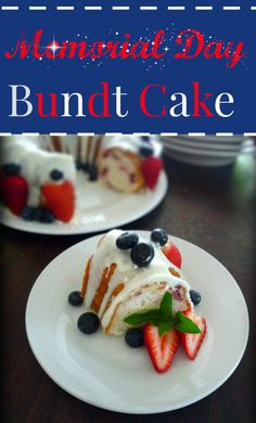Memorial Day Bundt cake is so simple and easy to make for you Memorial Day celebration remembering those special loved ones and dedicated military men and women. The red fresh strawberries, blue color of the juicy blueberries and simply white glazed white cake will be a big hit with everyone attending your Memorial Day Celebration.: