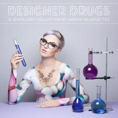 Aroha Silhouettes, Designer Drugs, Overdose Necklace, MDMA, Psylocybin, Cocaine, THC, MDMA, DMT, LSD, illicit, drugs, necklace, molecule, st...
