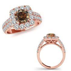 2 Carat Champagne Diamond Fancy Cushion Halo Wedding Bridal Ring 14K Rose Gold  | eBay #gold14krings