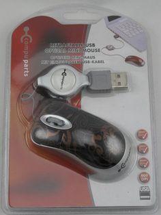 Oprolbare Optische USB Mini muis (Zwart)