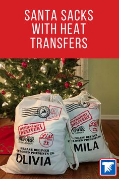 Create personalized Santa Sacks with your heat press and screen printed heat transfers from Transfer Express. Learn how here!