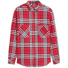 Mango Check Shirt, Red ($46) ❤ liked on Polyvore featuring tops, shirts, collared shirt, red shirt, red long sleeve top, checked shirt e mango shirt