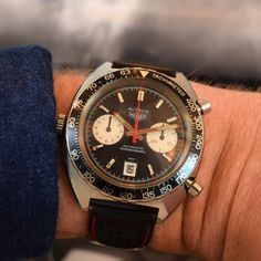 """A 1972 Heuer Autavia Ref. 1163 stainless steel 2 Register Chronograph. This chronograph is known as the """"Viceroy"""", as it was introduced in 1972 as a promotion for Viceroy cigarettes, and became a staple in Heuer's catalog. A true, collectible timepiece. (Store Inventory # 9481, listed at $3900)."""