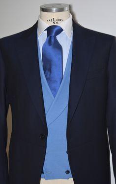 Chaqué marino con chaleco azul cruzado. Sastreria Jajoan 9b70f26594d