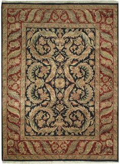 This beautiful Handmade Knotted Rectangular rug is approximately 8 x 12 New Contemporary area rug from our large collection of handmade area rugs with Persian Ziegler Mahal style from India with Wool