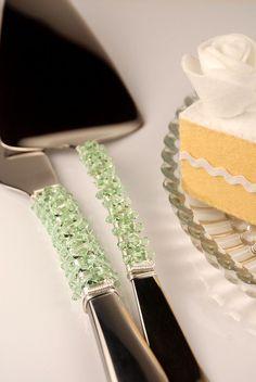 SWAROVSKI- Chrysoprase (Mint Green) wedding cake knife and server set by TheVintageWedding, $89.99 Beaded Wedding Cake, Bling Wedding, Wedding Cakes, Dream Wedding, Fall Wedding, Wedding Decor, Rustic Wedding, Wedding Stuff, Wedding Ideas