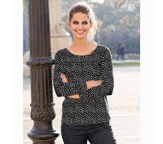 Puntíkované tričko s kontrastními detaily   modino.cz #modino_cz #modino_style #style #fashion #autumn #bestseller #podzim Polka Dot Top, T Shirt, Women, Fashion, Full Sleeve T Shirts, Full Sleeves, Elbow Patches, Plunging Neckline, Blouses
