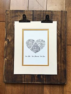 We Met. We Married. We Live.  Locations hold such special memories for us all – and our beautiful hand-made and matted artwork are the ideal way to make sure those memories are cherished forever. Perfect for the 1st (paper) Anniversary Gift! Our artwork is created by inlaying these stylized maps inside the heart shape cut from premium cardstock paper. It comes double matted with antiqued gold Lux matting, ready to be placed in the frame of your choice for years of enjoyment. The perfect…
