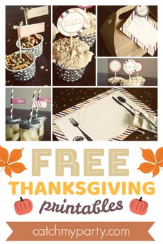 Download These FREE Thanksgiving Printables for the Best Celebration!! #thanksgiving #freeprinables  |  CatchMyParty.com Thanksgiving Food Crafts, Free Thanksgiving Printables, Thanksgiving Celebration, Hosting Thanksgiving, Thanksgiving Parties, Thanksgiving Decorations, Fall Decorations, Seasonal Decor, Free Baby Shower Printables