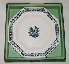 """Vtg 60-70s Interpace Japan octagonal plate 10¾"""" 27cm Independence blue rim boxed"""