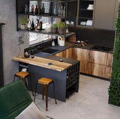 Home Room Design, Kitchen Design Small, Small Kitchen Design Apartment, Kitchen Remodel, Kitchen Remodel Small, Kitchen Inspiration Design, Home Kitchens, Modern Kitchen Design, Small Apartment Kitchen