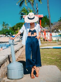 Gary Pepper blogger in silky wide-leg crop pants and front-tie bikini top