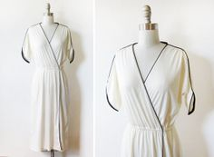 70s wrap dress / vintage white disco dress / by RustBeltThreads
