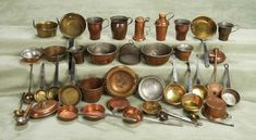 Collection of 36 Antique Copper and Brass Utensils for Doll House Kitchens