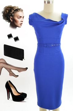 Brand new in store at Le Bomb Shop! Find it here: http://www.ebay.com/itm/50s-Style-BLUE-JackieO-Belted-PINUP-Wiggle-Dress-w-Asymmetrical-DRAPED-Bodice-/121060728459?pt=US_CSA_WC_Dresses==item61d1131667