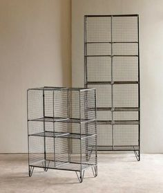 "WIRE GYM BOOKCASES. Small 24""W x 12""D x 35""H ; Tall 24""W x 12""D x 64""H"