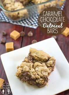 Caramel Chocolate Oatmeal Bars - Delicious and chewy caramel chocolate oatmeal bars are a perfect treat for any time. #MyOatsCreation #QuakerUp #spon