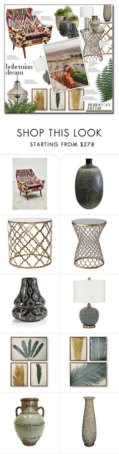 """142 - moroccan decor"" by earendil-xx ❤ liked on Polyvore featuring interior, interiors, interior design, home, home decor, interior decorating, Anthropologie, Uttermost, Zodax and Pacific Coast"