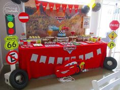 Cool dessert table at a Disney Cars birthday party! See more party ideas at… Birthday Party Tables, Cars Birthday Parties, Birthday Party Decorations, Decoration Party, Table Party, Party Favors, Party Themes, Lightning Mcqueen Party, Disney Cars Party