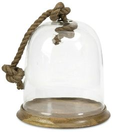 Large Cloche with Rope. Place a cool seashell inside! http://beachblissliving.com/shoreline-living/