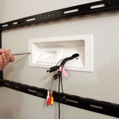 Mounted TV with Hidden Wires Tutorial Installing a Wall Mount Flat Screen TV + Hiding Cords Living Room Tv, Home And Living, Tv On Wall Ideas Living Room, Tv Wall Design, House Design, Hide Cables, Hide Cable Box, Wall Mounted Tv, Diy Tv Wall Mount