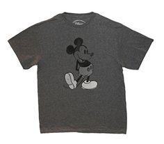 Disney Mens Vintage Mickey Mouse TShirt Extra Large Dark Heather Grey * Visit the image link more details.