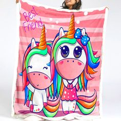 Kid Unicorn Sherpa Fleece Blanket Unicorn Kids, Love Rainbow, Toy Boxes, Unicorns, Daughters, Love Seat, Nursery, Cartoon, Blanket