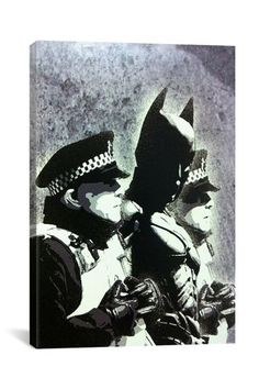 Street Art: Batman and the Police 12in x 18in Canvas Print