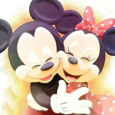 Mickey & Minnie giving a big hug as their love is very strong