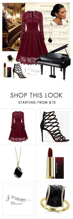"""""""Music was my first Love"""" by maya1705 ❤ liked on Polyvore featuring Aquazzura, Effy Jewelry and Kevyn Aucoin"""