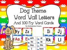 Brighten up your room with these adorable Dog Theme Word Wall Letters to go with your Dog Theme Classroom.All consonant letters are in black. I made vowels in black and red.The first 100 Fry Words are also included and an editable page for you to add any words that you would like to add.