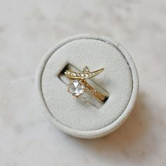 Thoughts on this uniquely pointed engagement ring? Anna Sheffield, Flying Flowers, Statement Rings, Cufflinks, November 8, Butterfly, Stud Earrings, Engagement Rings, Unique